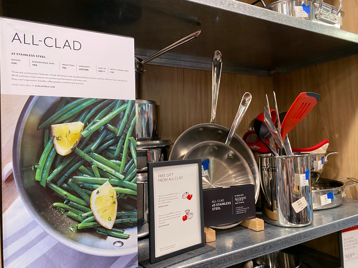 A set of All-Clad skillets on sale at Sur la Table