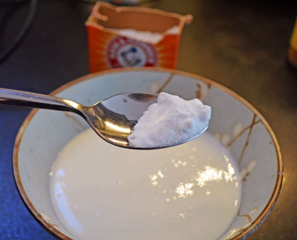 Add baking soda to buttermilk