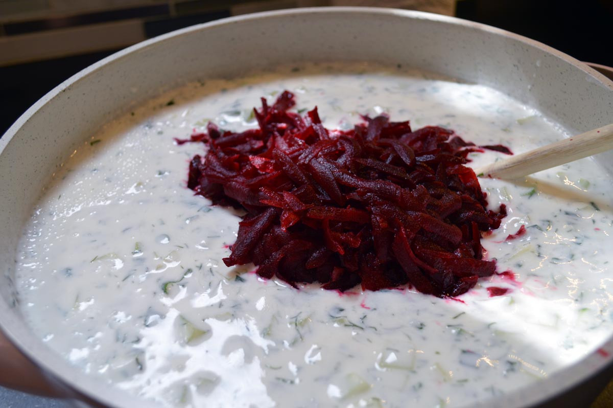 Add Beets in Cold Borscht Soup