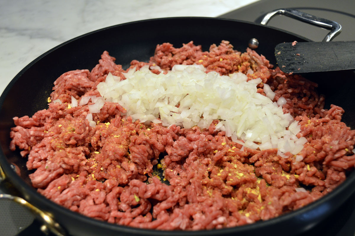 Ground beef and chopped onion