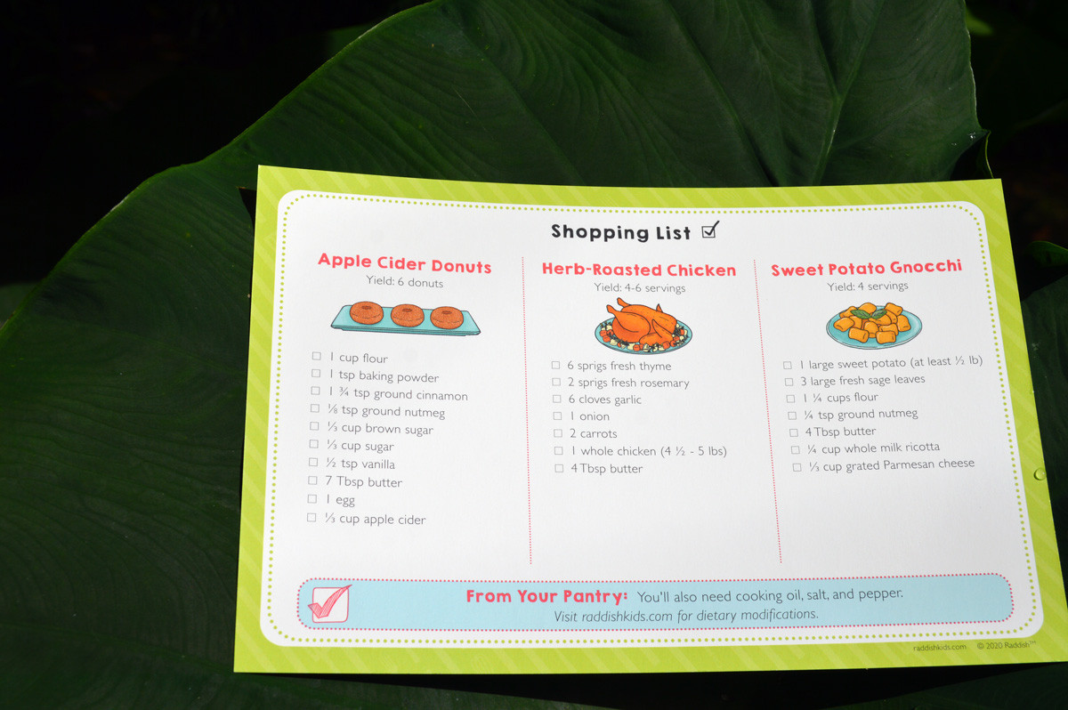 Harvest Party Raddish Box Shopping List