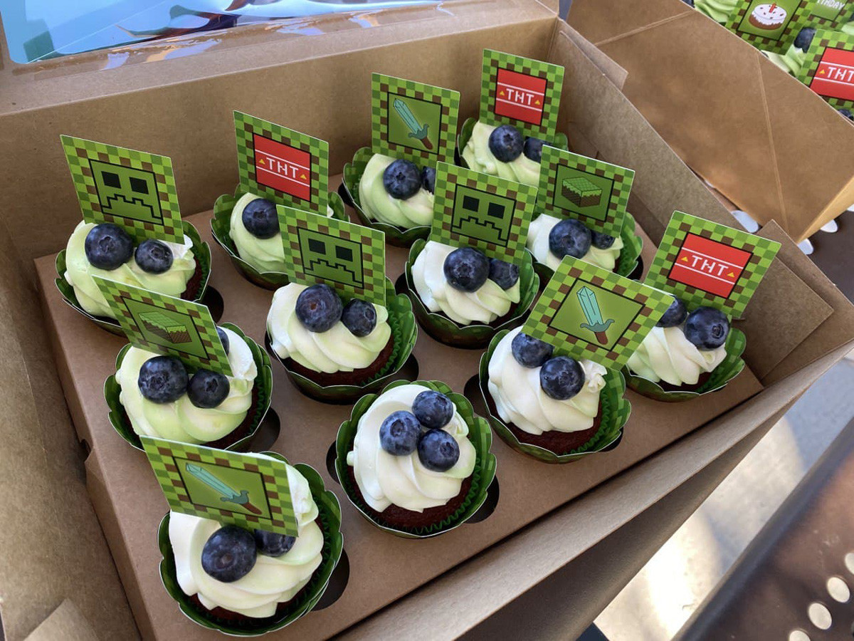 Minecraft Themed Birthday Party Cupcakes