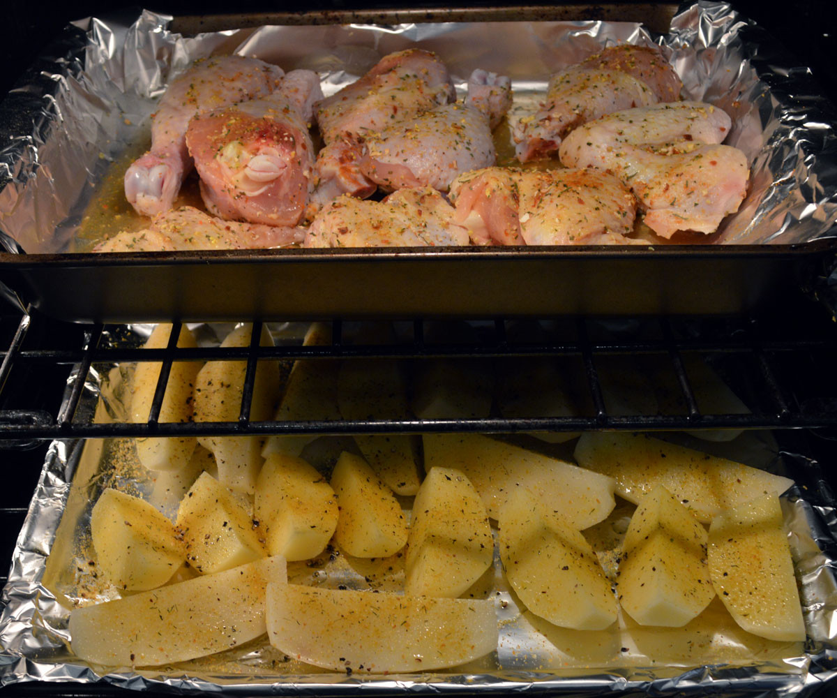 Oven Roasted Chicken with Potato cooking