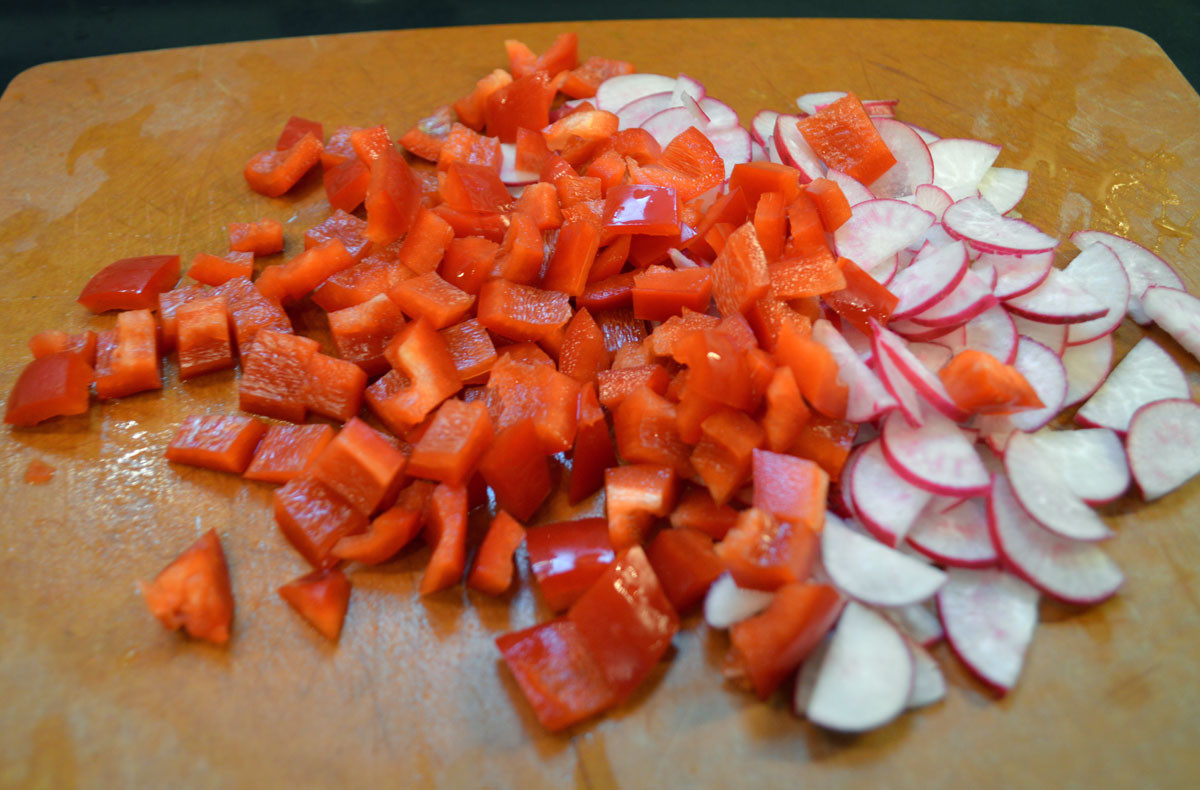 Radishes and red paprika for salad