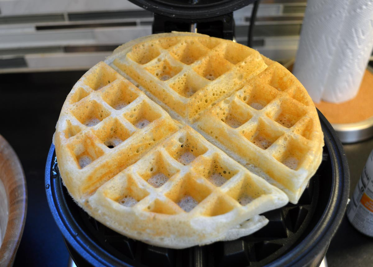 Whole Wheat Sourdough Waffle Cooking